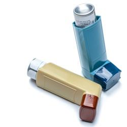 Blue and brown asthma inhalers